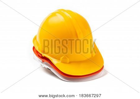 Red, Yellow, White Engineer Hat Work Safety On White Background.
