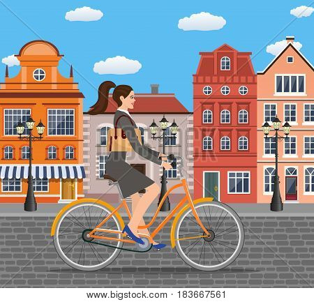 City style business lady with bag riding bicycle the streets of the old town. Bike to work poster. Including beautiful european cityscape background.