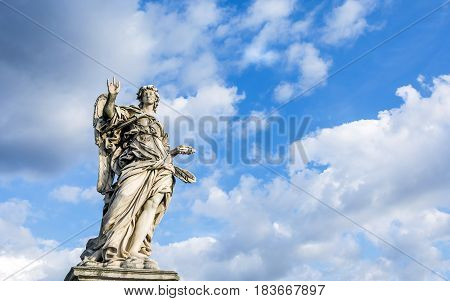 Statue of Angel with the Nails on Ponte Sant'Angelo in Rome. Every statue of angel on the bridge bears the instruments of Christ's passion and were executed by Bernini's students