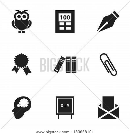 Set Of 9 Editable University Icons. Includes Symbols Such As Calculator, Staple, Victory Medallion And More. Can Be Used For Web, Mobile, UI And Infographic Design.