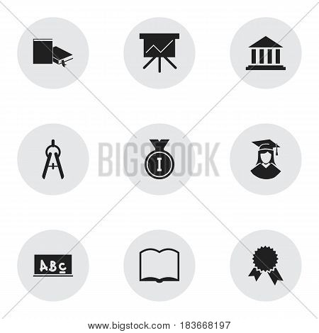 Set Of 9 Editable Graduation Icons. Includes Symbols Such As Museum, First Place, School Board And More. Can Be Used For Web, Mobile, UI And Infographic Design.