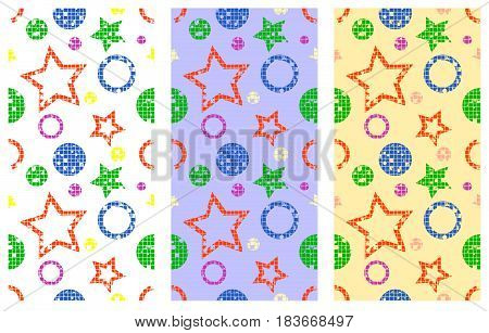 Set Of Seamless Vector Patterns Geometrical Backgrounds With Geometric Figures, Forms, Stars, Circle