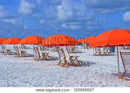 Beach umbrellas and chairs in Clearwater Beach Tampa; Florida USA