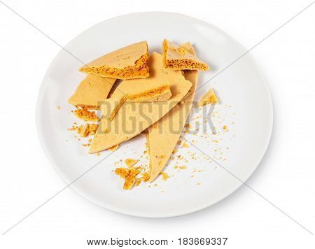 Caramel Honeycomb On A White Plate 01