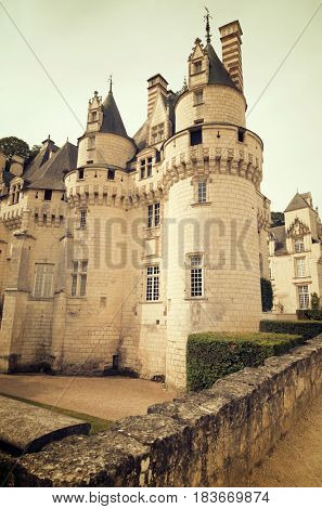 Usse Castle in Loire Valley, Rigny-Usse, France. Known as the Sleeping Beauty Castle and built in the eleventh century is now a Historical Monument of France.
