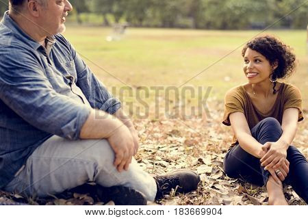 Diverse People Talking Together at the Park