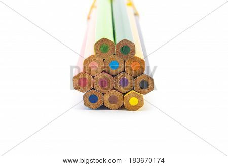 Closeup to Hexagon Shaped of Color Pencils Isolated