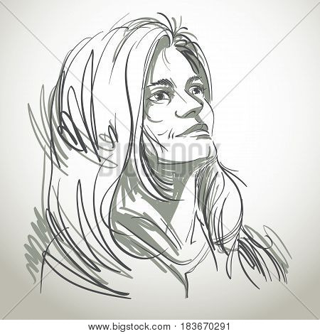 Vector art drawing portrait of gorgeous romantic girl isolated on white. Facial expressions people positive emotions.