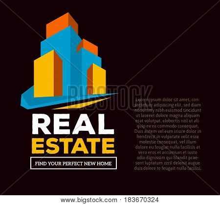 Vector creative template with illustration of three dimensional abstract colorful skyscraper and words real estate with text on dark background. Real estate business concept. 3d fun style design of logo real estate for agency web page, site, banner, prese