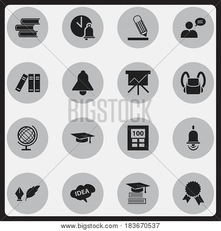 Set Of 16 Editable Science Icons. Includes Symbols Such As Writing, Victory Medallion, Literature And More. Can Be Used For Web, Mobile, UI And Infographic Design.