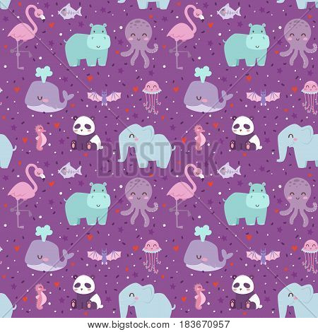 Animals cartoon wildlife nature seamless pattern jungle texture bird colorful retro wallpaper vector illustration. Zoo cute funny design hippopotamus print textile.