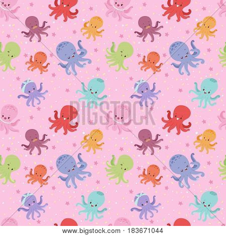 Illustration of cartoon octopus character vector seamless pattern.