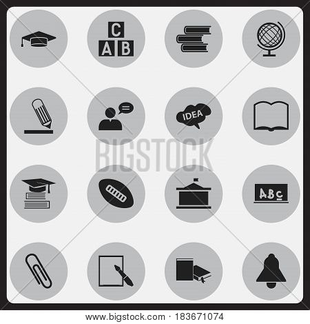 Set Of 16 Editable University Icons. Includes Symbols Such As Alphabet Cube, Thinking Man, School Board And More. Can Be Used For Web, Mobile, UI And Infographic Design.