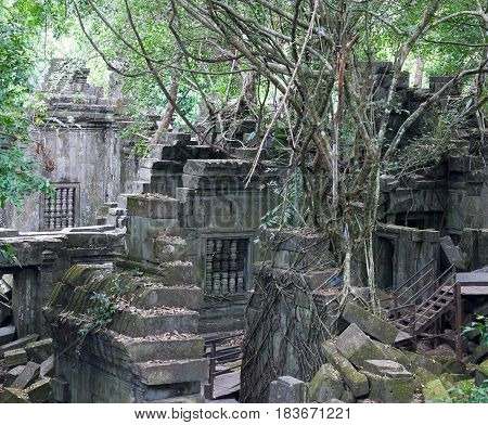 Ruins Of Ancient Beng Mealea Temple Over Jungle In Cambodia