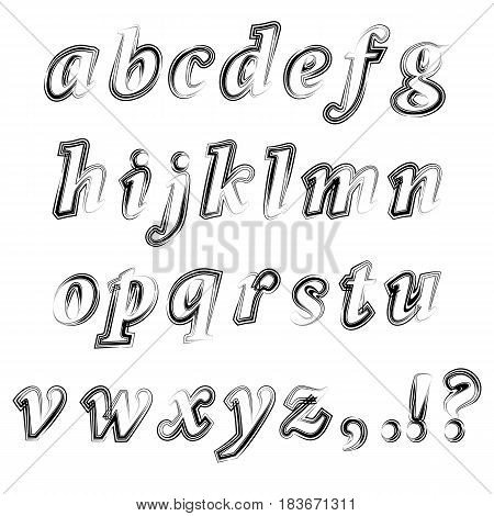 Black Ink Grunge Alphabet Isolated on White Background. Set of Sketch Letters. Decorative Scribble Symbols