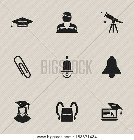 Set Of 9 Editable Education Icons. Includes Symbols Such As Schoolbag, Binoculars, Studying Boy And More. Can Be Used For Web, Mobile, UI And Infographic Design.