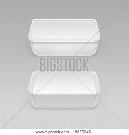 Vector White Blank Food Plastic Box Container for Mayonnaise, Margarine, Cheese, Ice cream, Sour cream with Label For Package Design Mock up Close up Isolated on Background
