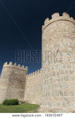 Avila (Castilla y Leon Spain): the famous medieval walls surrounding the city
