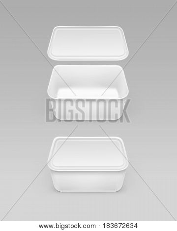 Vector Closed Opened White Blank Food Plastic Box Container for Mayonnaise, Margarine, Cheese, Ice cream, Sour cream with Label For Package Design Mock up Close up Isolated on Background
