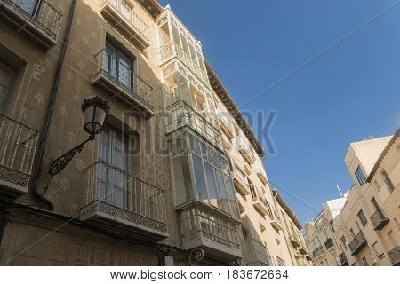 Segovia (Castilla y Leon Spain): old street with the typical verandas