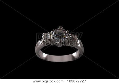 Silver Diamond Ring with Clipping Path on Black Background