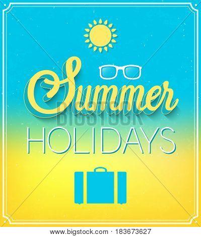 Summer Holidays creative typographic design. Vector illustration.