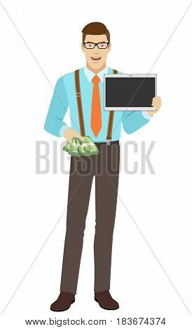 Businessman with cash money holding digital tablet. A man wearing a tie and suspenders. Full length portrait of businessman character in a flat style. Vector illustration.