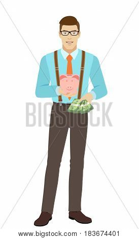 Businessman with cash money holding a piggy bank. A man wearing a tie and suspenders. Full length portrait of businessman character in a flat style. Vector illustration.