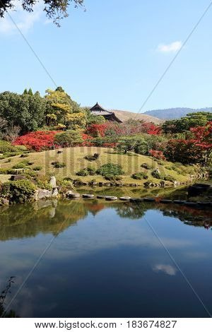 Autumn foliage in Japan's ancient capital Nara with nice landscapes