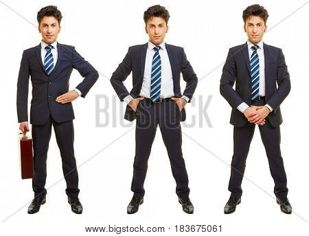 Three versions of business man standing frontal isolated on white