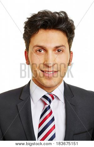 Head shot of smiling attractive young business man