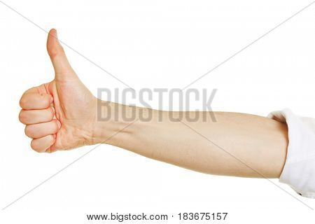 Profile view of a hand holding thumb up isolated on white