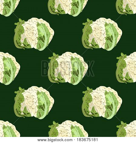 Cauliflower seamless patern on green background. Hand drawn vector illustration. Watercolor imitation. Healthy concept, vegan food. Textile, wallpaper.