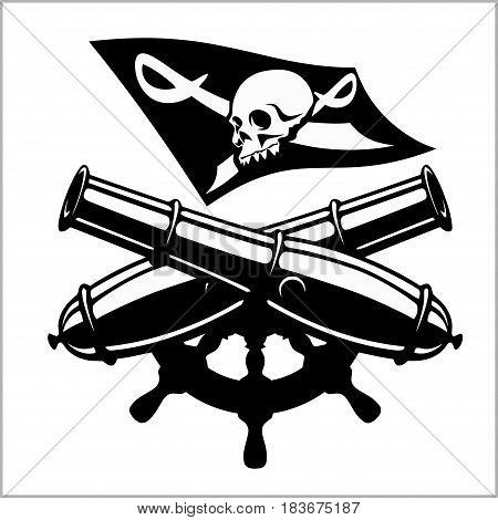 Piracy flag and crossed canon - isolated on white