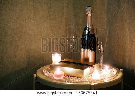 Candle on a served table