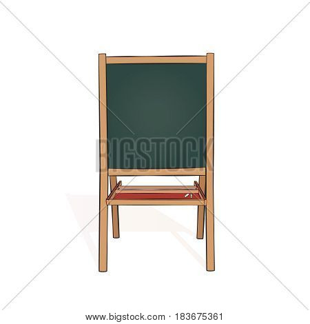 Educational small chalk board for homeschooling and drawing. Isolated on white. vector illustration