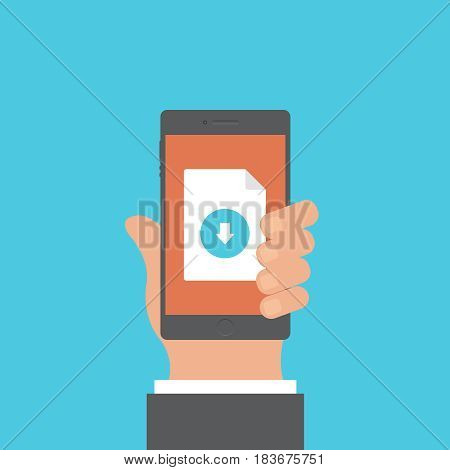 File upload on background vector concept. Download illustration in modern flat style. Color picture for design web site, web banner, printed material. Upload photo flat icon.