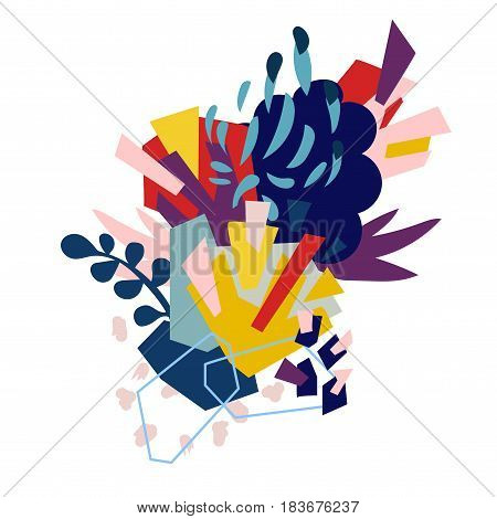 Abstract floral elements paper collage.Vector illustration hand drawn.Sketch ready for contemporary scandinavian flat design- poster, invitation, post card, t-shirt design.