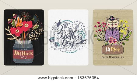 Happy Mother's day. Set of 3 colorful congratulatory backgrounds. Spring holiday. Card postcard invitation or poster. Size A4. Vector illustration eps10