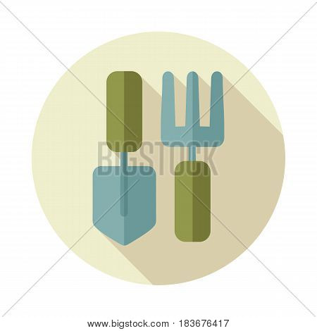 Garden fork garden shovel pitchfork garden tool flat vector icon isolated eps 10
