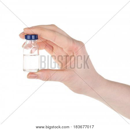 Hand of nurse with medicine prepared for vaccination, on white background