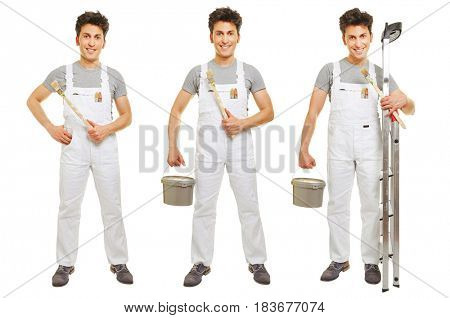 Three versions of painter in white overall with brush and ladder