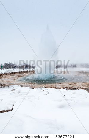 Eruption Of Geysir Or The Great Geysir Of Iceland