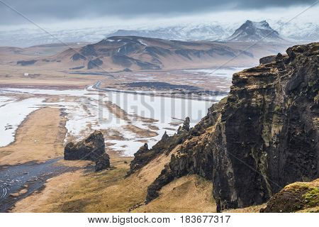 Mountain Coastal Landscape. Vik District, Iceland