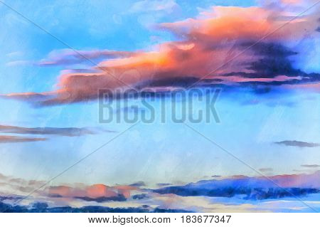 Beautiful sunset over Mediterranean sea colorful painting