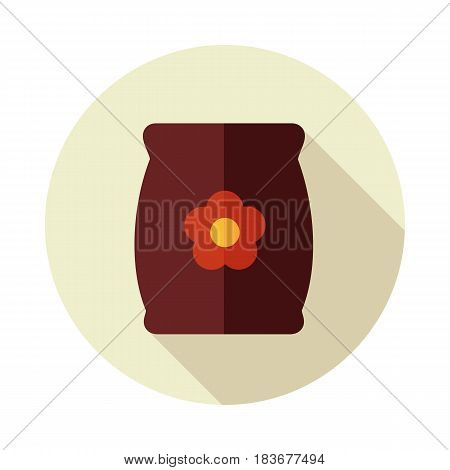 Bag sack flower seed flat vector icon outline isolated garden eps 10