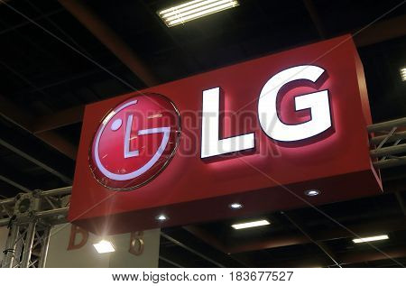 TAIPEI TAIWAN - DECEMBER 6, 2016: LG. LG is a South Korean electronics company and the fourth-largest chaebol in South Korea.