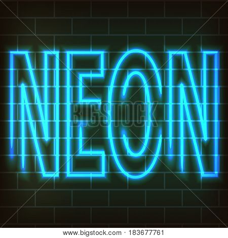 Light Blue neon letters - Neon. Against the background of a brick wall. Vector abstraction