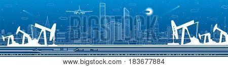 Petroleum and infrastructure panorama, industrial landscape, modern city skyline, vector lines design art