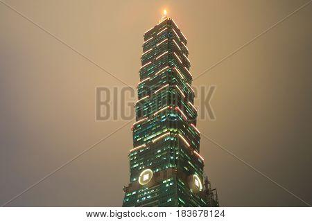 TAIPEI TAIWAN - DECEMBER 6, 2016: Iconic Taipei 101 skyscraper.